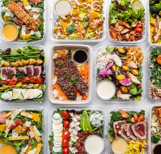 Boxes with salads